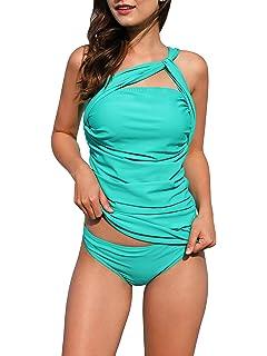 b424d8ebd1269 Womens One Shoulder Sexy Tankini Set Two Piece Push Up Swimsuits Tummy  Control Beach Swimwear