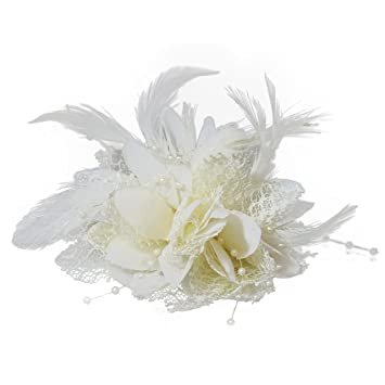 85c3405c116aa Flower Feather Bead Corsage Hair Clips Fascinator Hairband and Pin (Cream  Ivory)  Amazon.co.uk  Beauty