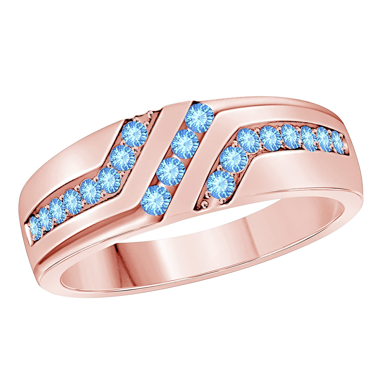 Star Retail Mens Wedding Anniversary Band Ring in 18k Rose Gold Plated Alloy Lab Blue Topaz Size 6-14