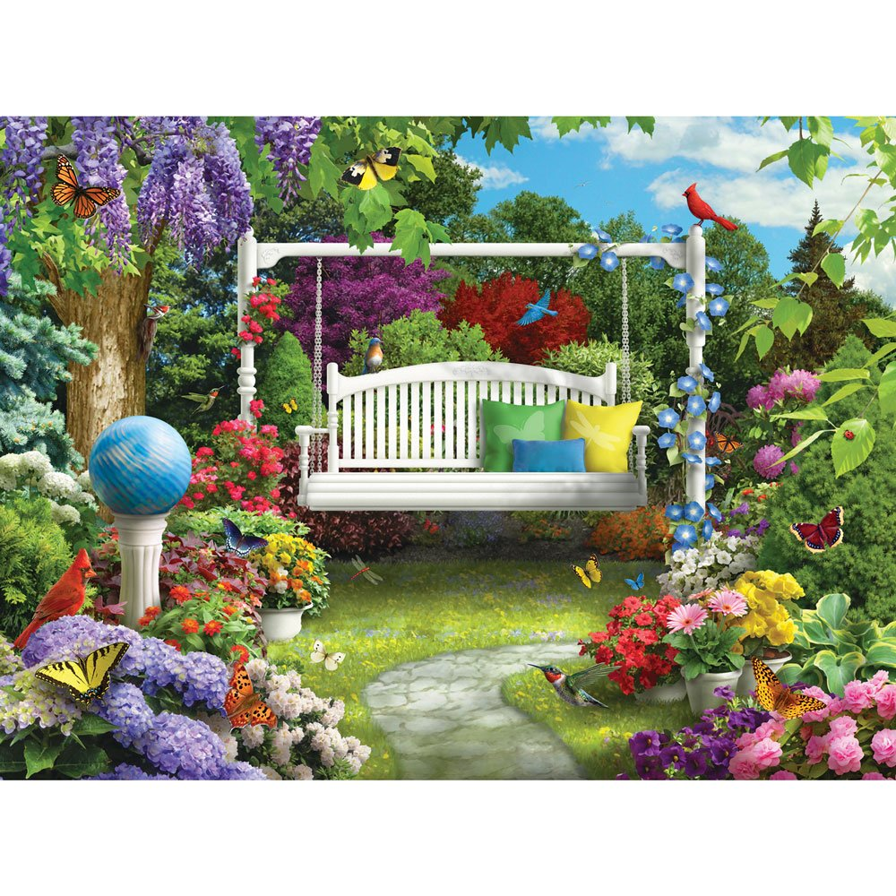 Bits and Pieces - 300 Piece Jigsaw Puzzle - Nature Sings to Me III, Birds in Flower Garden - by Artist Alan Giana - 300 pc Jigsaw