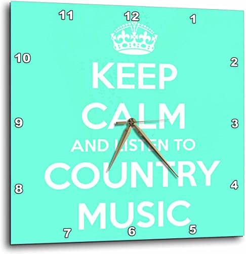 3dRose 3D Rose Keep Calm and Listen to Country Music. Turquoise and White. -Wall Clock, 13-inch DPP_173403_2