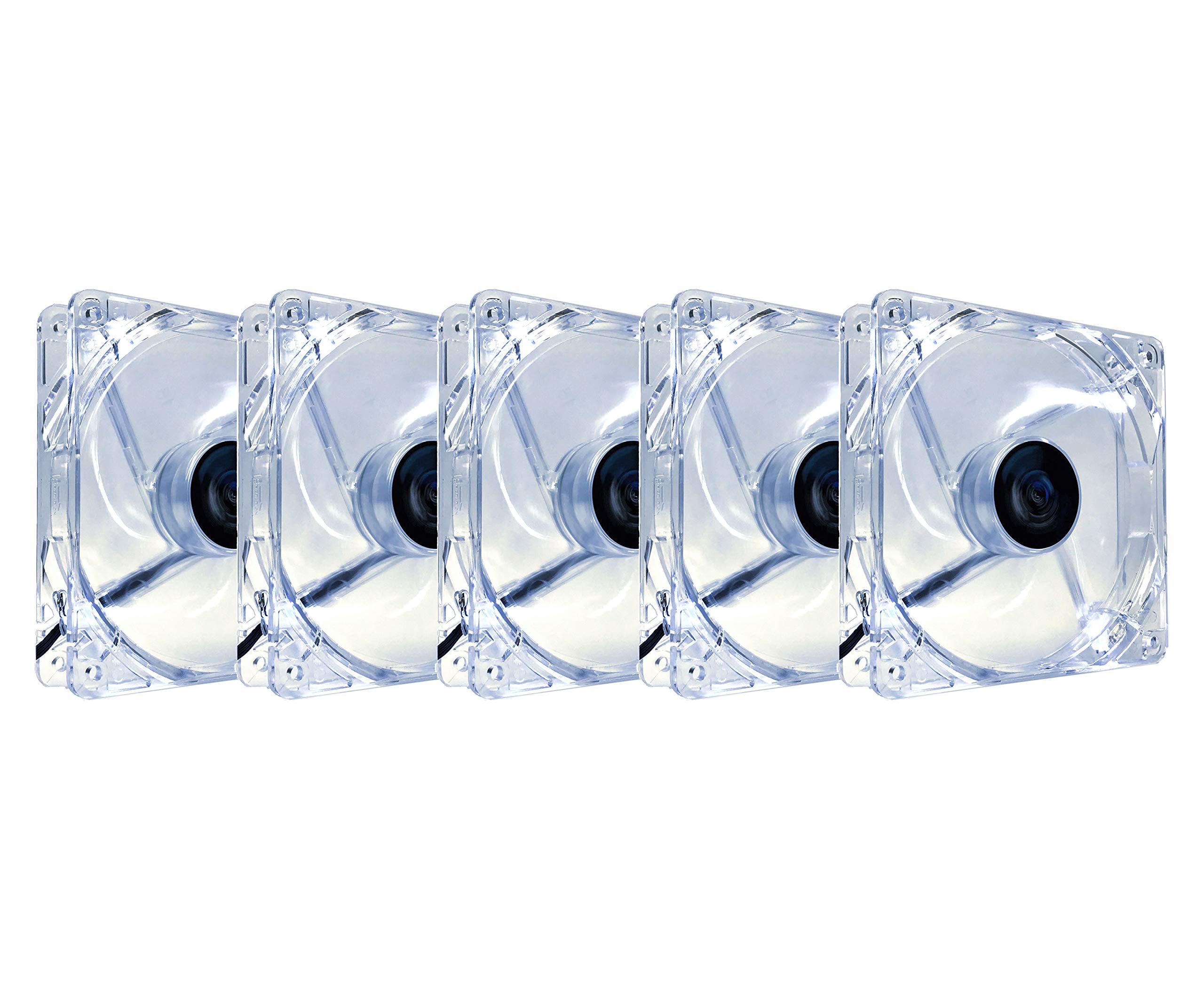 APEVIA AF512L-WHT 120mm 4pin+3pin Silent White LED Case Fan (5-pk)