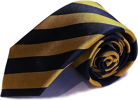 Corbata de nudo grande - clásica de rayas amarillas y azul ...