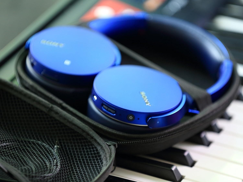 Ginsco Housse de Transport pour Casque Sony MDR-XFB950BT MDRZX310 MDRZX330 COWIN E7 Bose QC25 Grado SR80 en Tissu Noir Taille Unique
