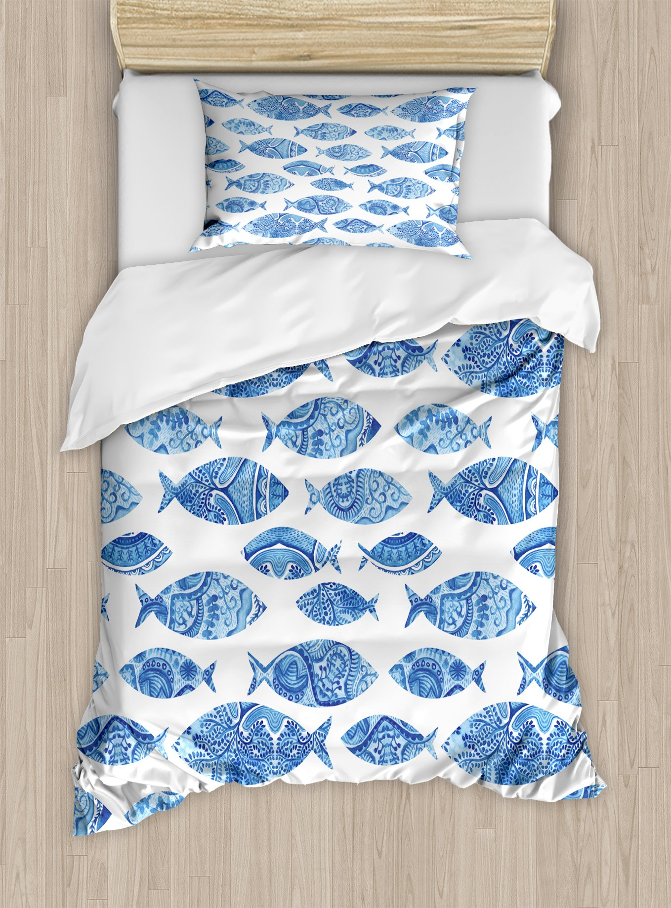 Ambesonne Blue Duvet Cover Set Twin Size, Fish Sea Animal Figures with Ancient Ottoman Ornate Mosaic Hand Drawn Style Marine Artwork, Decorative 2 Piece Bedding Set with 1 Pillow Sham, Blue