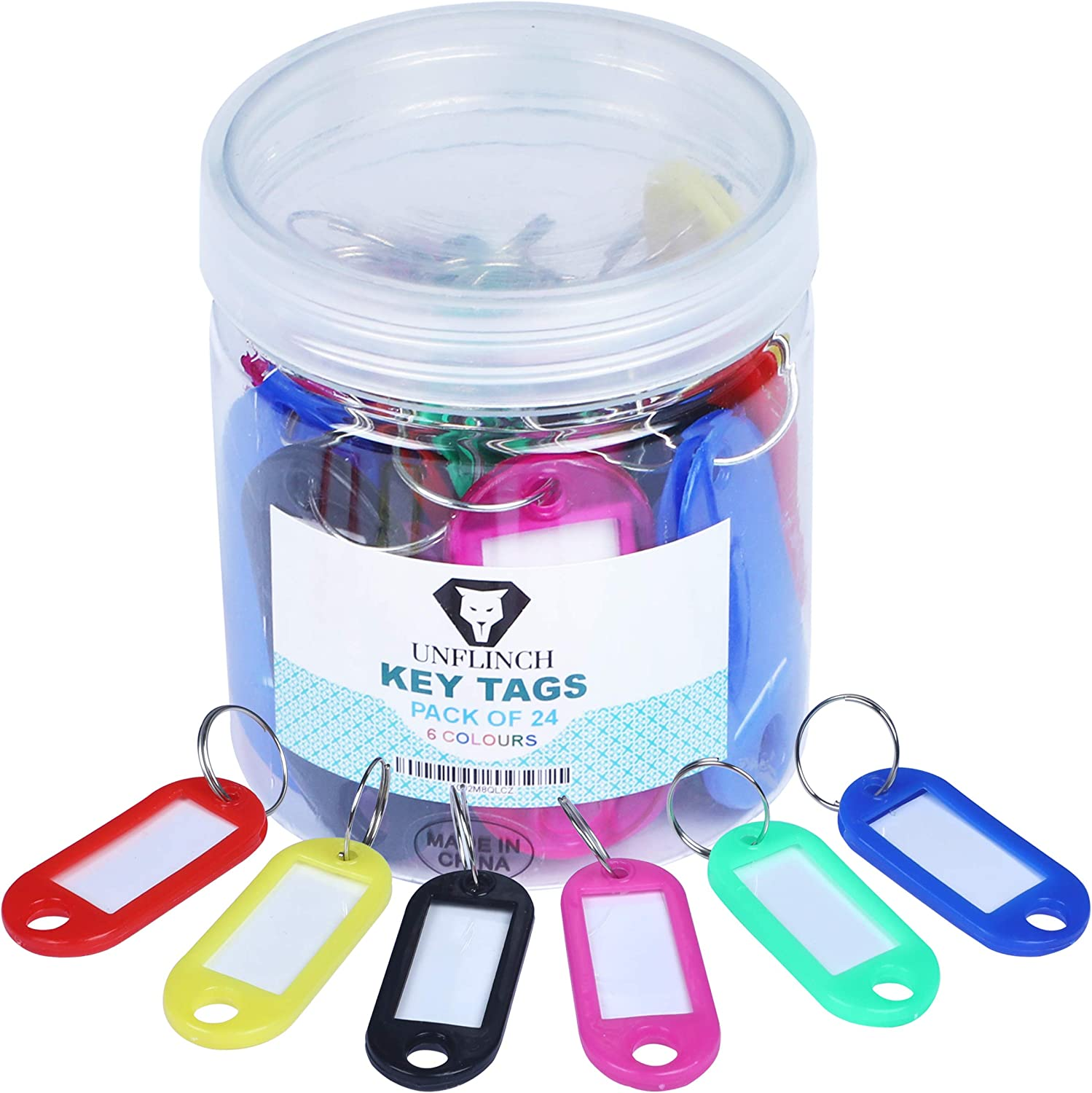 Unflinch Key Tags Pack of 24 - Plastic Assorted Labels with Metal Ring for Organized Tours, Travels, Home, Office and More
