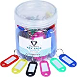 Unflinch Key Tags Pack of 24 - Plastic Assorted Labels with Metal Ring for Organized Tours, Travels, Home, Office and More (2