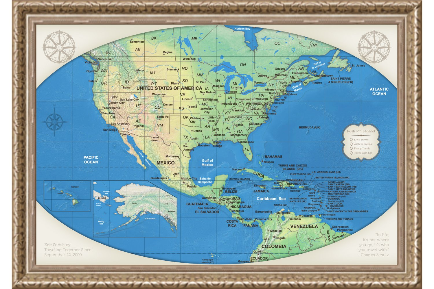Amazon.com: US Map Wall Art Canvas - Personalized USA National Park ...