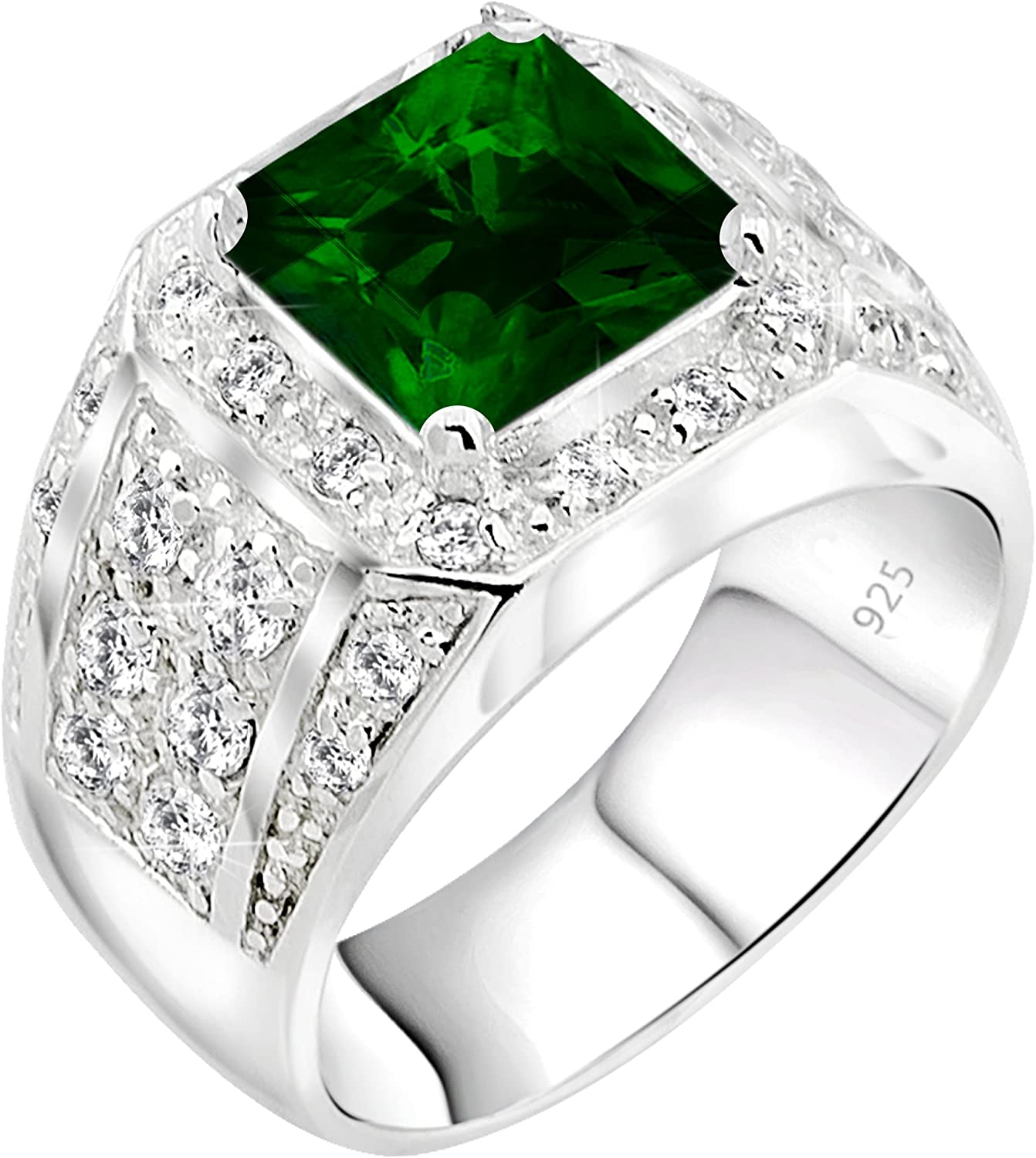 [2-5 Days Delivery] Men's Elegant Sterling Silver .925 Ring High Polish Princess Cut Featuring a Synthetic Green Emerald and 32 Fancy Round Cubic Zirconia (CZ) Stones