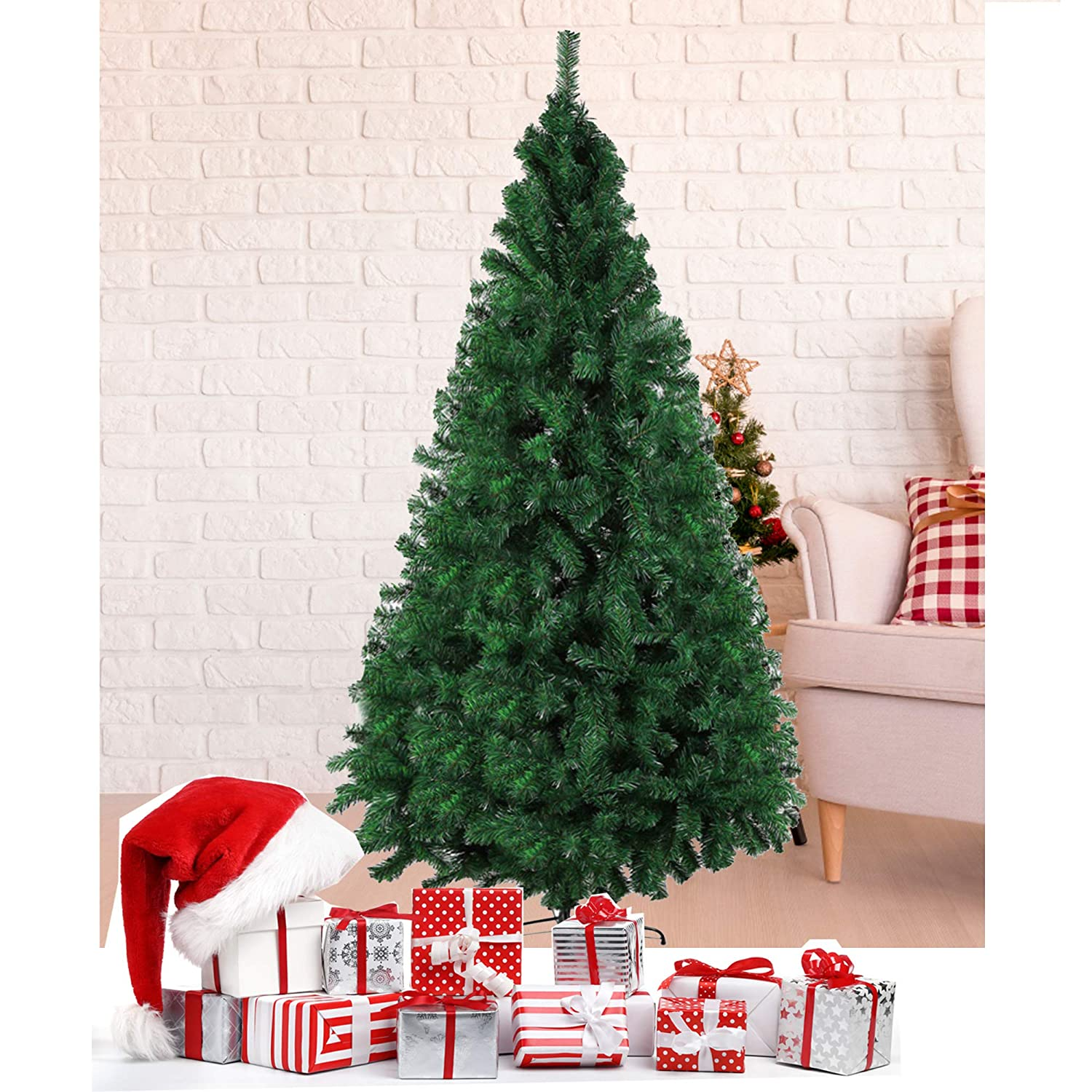 Amazon Com Luckyermore 7 Ft Christmas Pine Tree Artificial Fake Xmas Tree With Solid Metal Stand Decoration For Festival Party Holiday Decorationsgreen
