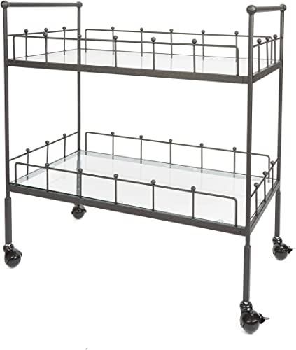 Silverwood FS1134C-COM Fitz 2-Tier Rectangular Serving Cart 2, 16 L x 30 W x 31.5 H, Hammered Bronze