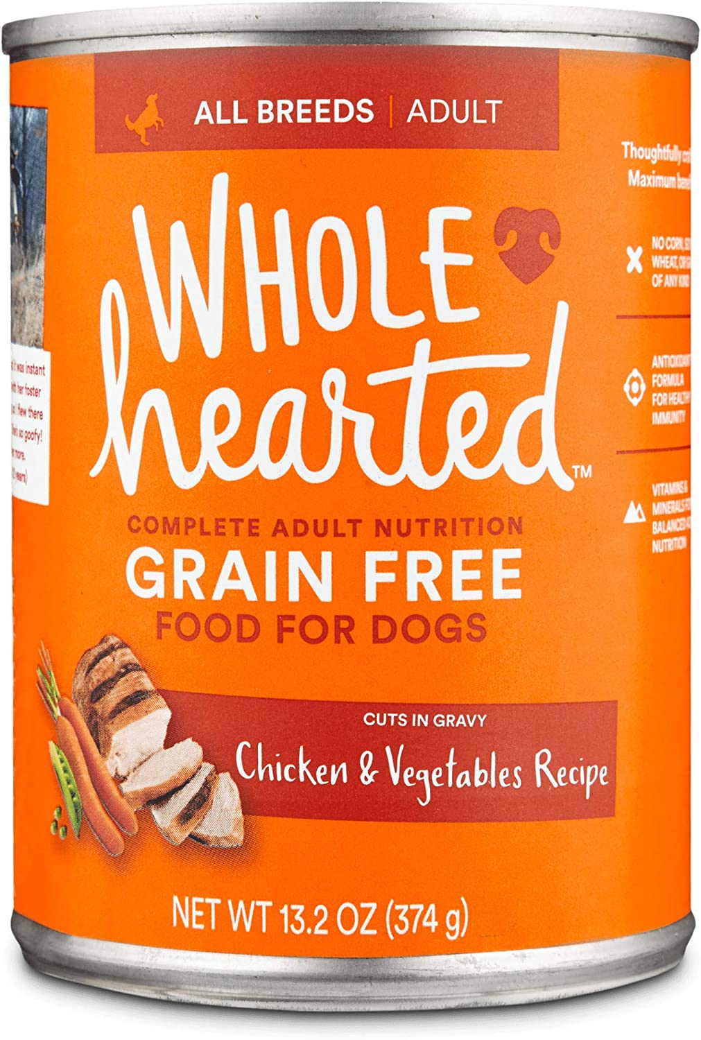 WholeHearted Grain Free Adult Chicken and Vegetable Recipe Wet Dog Food, 13.2 oz., Case of 12, 12 X 13.2 OZ