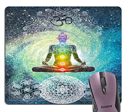 Knseva Yoga Mouse Pad, Mandala Design Zen Meditation Hippie Style with Sign Chakra Art Print Mouse Pads Cute Mat for Computers