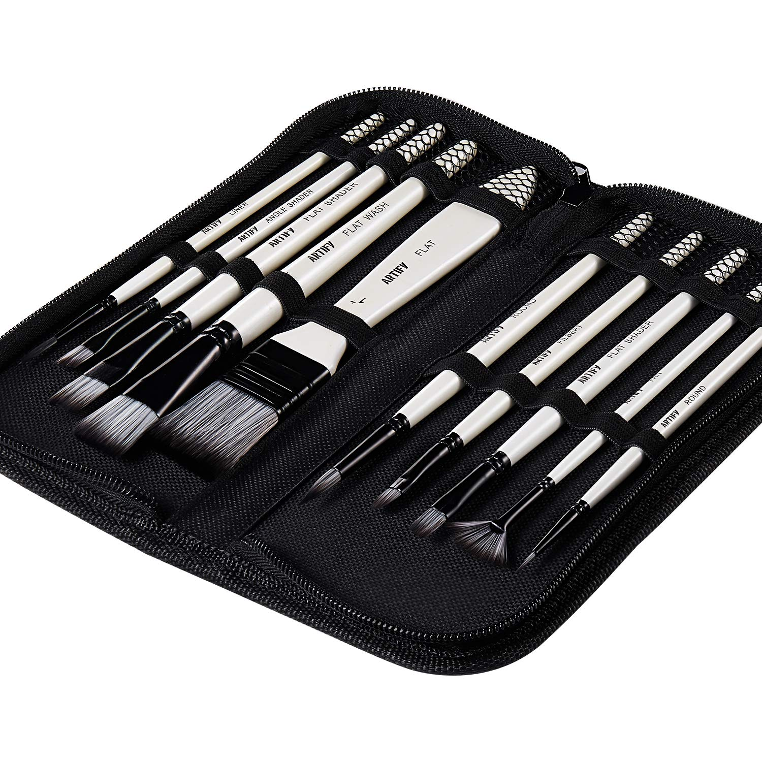 Artify 2019 New 10 Pcs Paint Brush Set Includes a Carrying Case Perfect for Acrylic, Oil, Watercolor and Gouache Painting by Artify Art Supplies