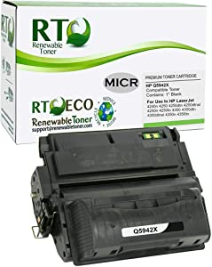 Renewable Toner Compatible MICR Toner Cartridge High Yield Replacement for HP 42X Q5942X Laserjet 4250 4350