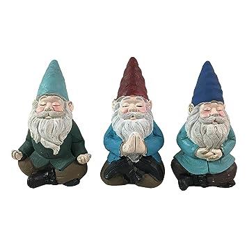 Meditating Yoga Garden Gnomes  3 Statues