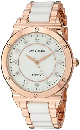 4f4c5e4fd Image Unavailable. Image not available for. Color: Anne Klein Women's AK/2902WTRG  Diamond-Accented Rose Gold-Tone and White Ceramic