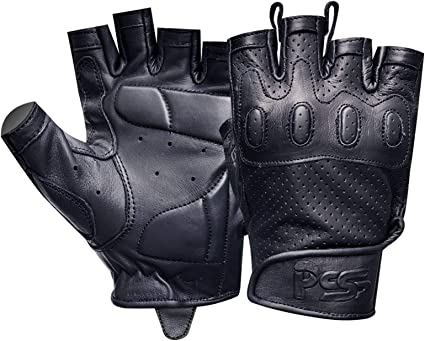 Leather Weight Lifting Body Building Cycling Bus Driving Gym Finger less Gloves