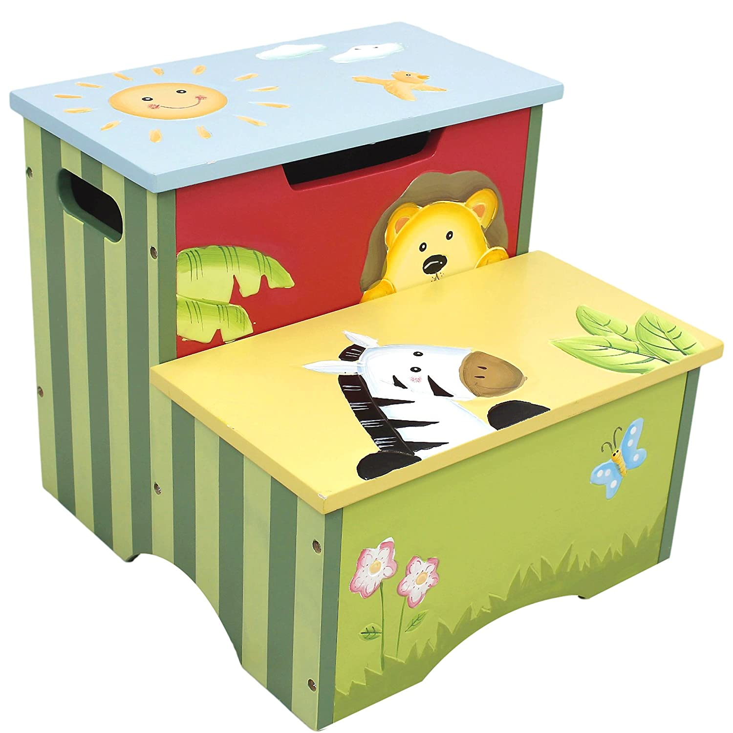 Kids wooden toy chest sunny safari - Amazon Com Fantasy Fields Sunny Safari Animals Thematic Kids Wooden Step Stool With Storage Imagination Inspiring Hand Crafted Hand Painted Details