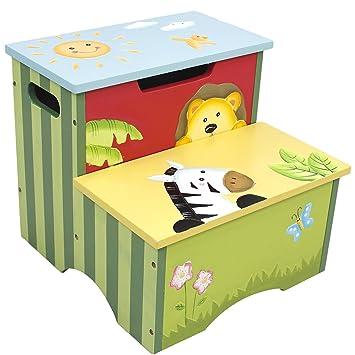 Fantasy Fields   Sunny Safari Animals Thematic Kids Wooden Step Stool With  Storage | Imagination Inspiring