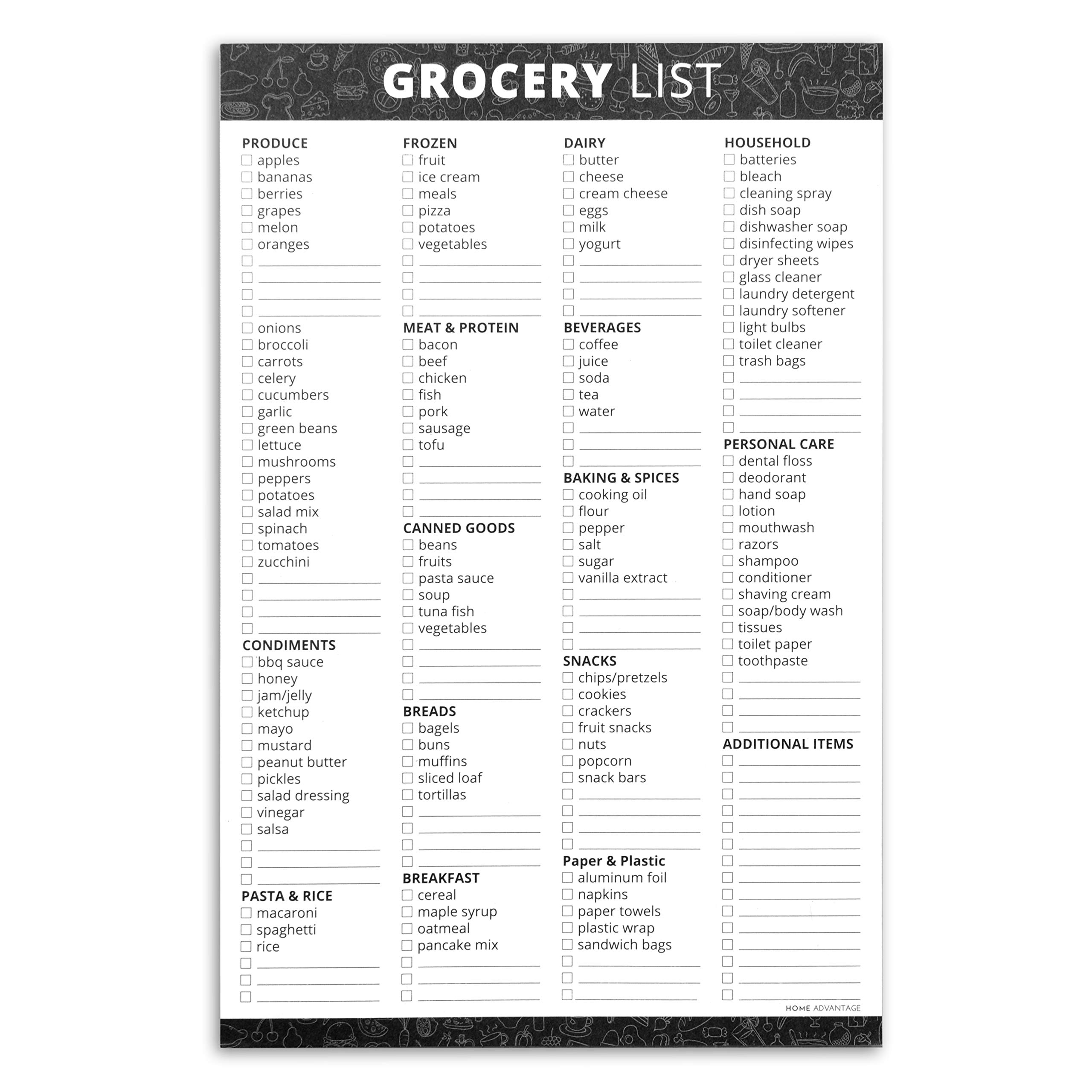 Home Advantage Grocery List Notepad with Magnet Strip (Black, 6x9)