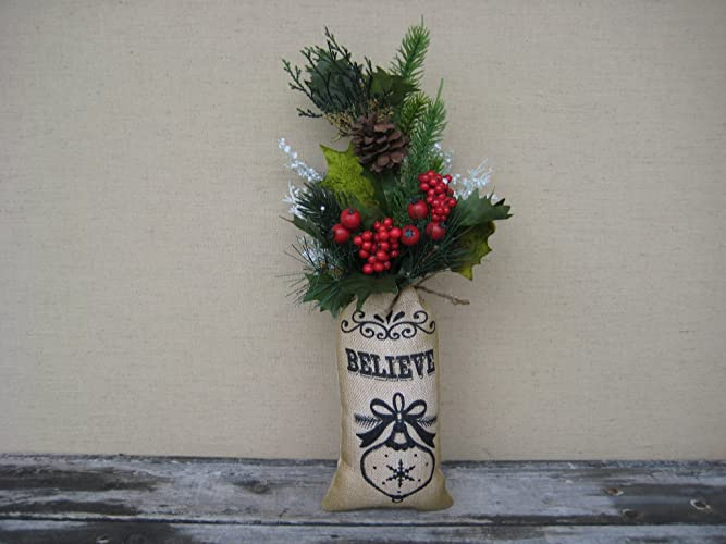 primitive christmas greenery burlap floral bag holiday table decoration