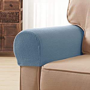 Subrtex Spandex Stretch Fabric Armrest Covers Anti-Slip Furniture Protector Armchair Slipcovers for Recliner Sofa Set of 2 with Free Fixing Tools (Steel Blue with Twist Pins)