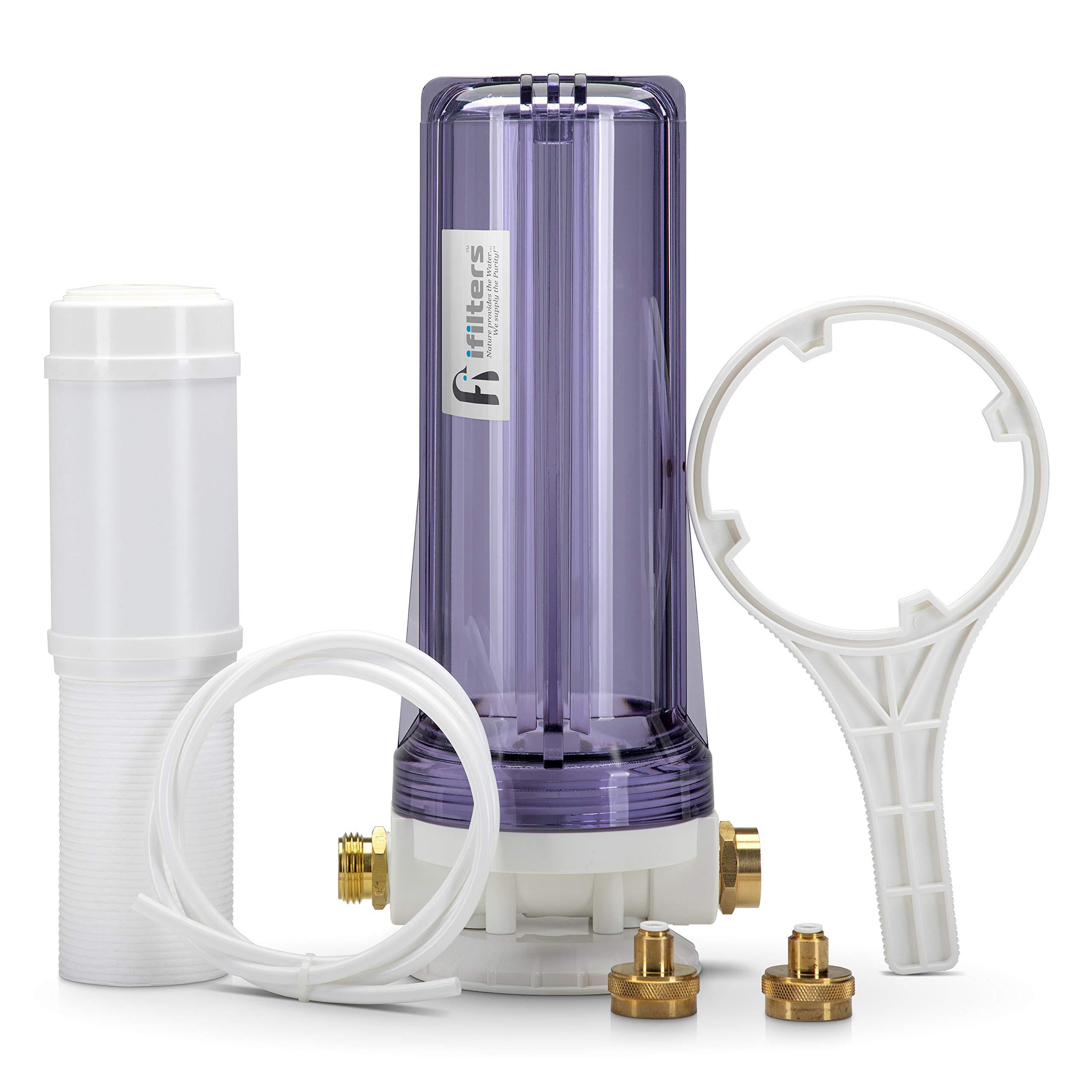 Premium Dual RV/Marine Water Softener Regeneration Kit and Water Filter, Reduces Bad Taste, Odor, Sediment, Chlorine by iFilters
