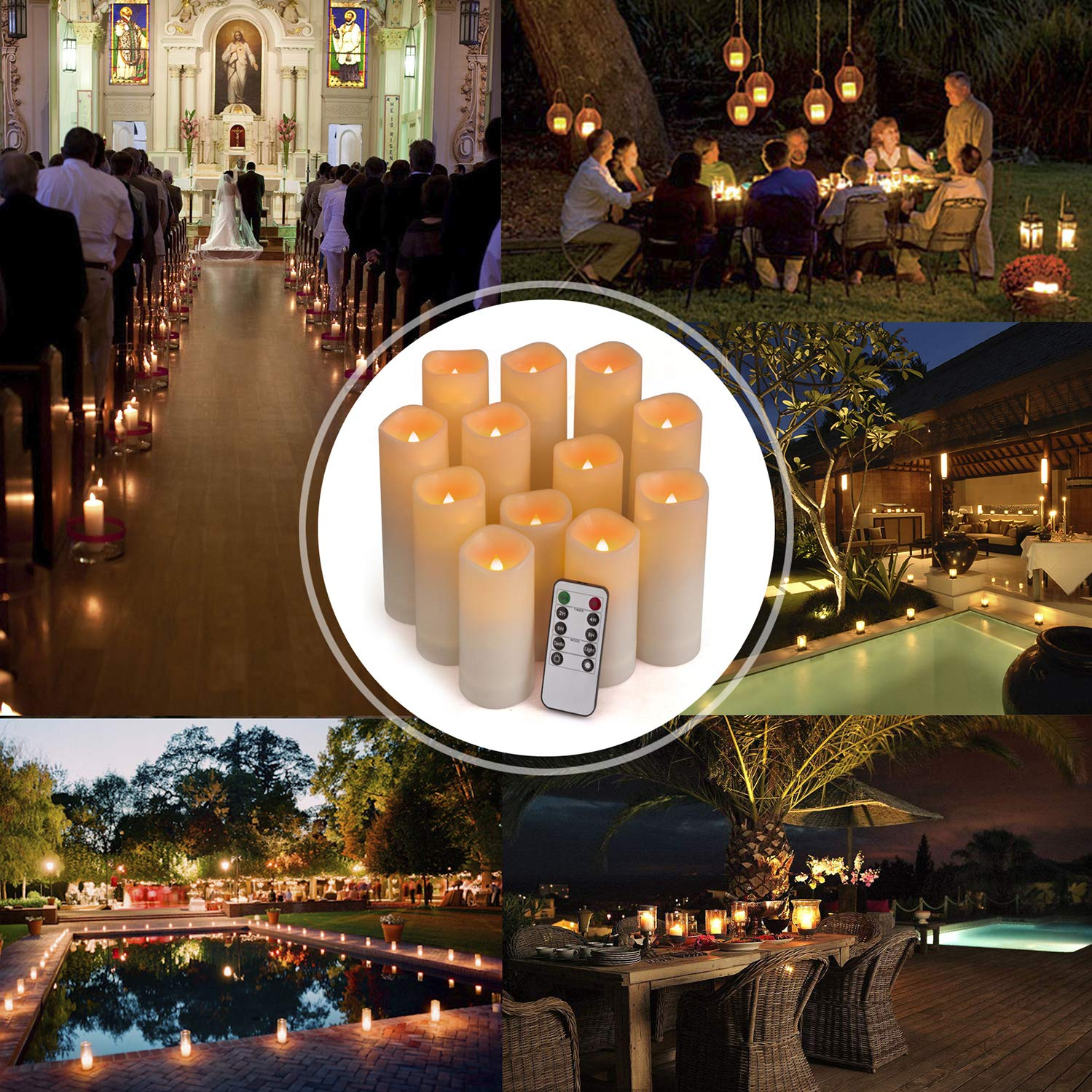 Batteries not Included H 4 5 6 7 x D 2.2 Ivory Resin Candles with Remote Timer Waterproof Outdoor Indoor Candles Aignis Flameless Candles Led Candles Set of 12