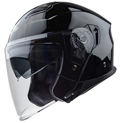 Vega Helmets Magna Open Face Motorcycle Helmet with Sunshield Unisex-Adult powersports (Gloss Black, XS): Automotive