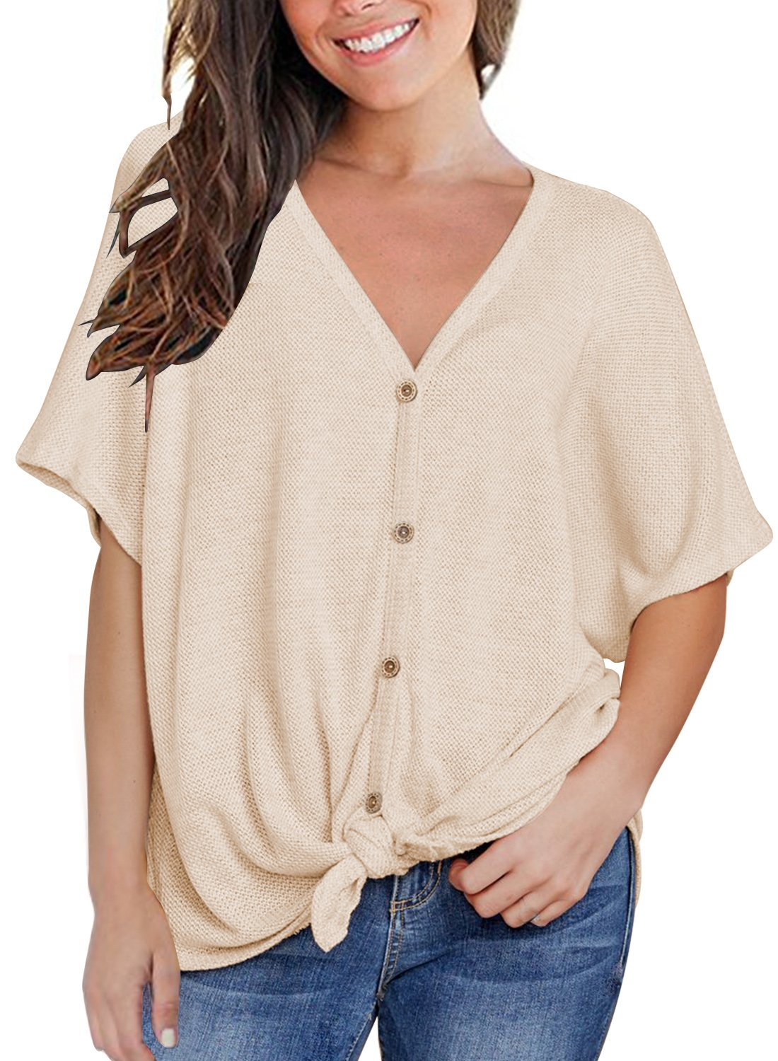 MIHOLL Womens Loose Blouse Short Sleeve V Neck Button Down T Shirts Tie Front Knot Casual Tops (Medium, Beige)