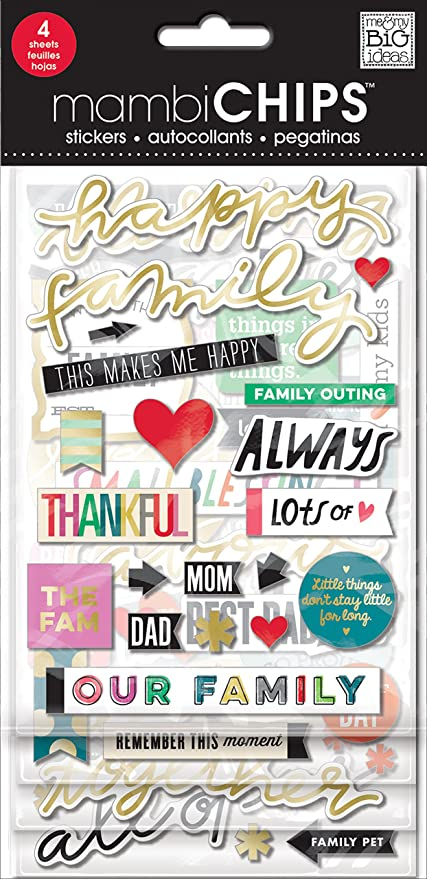 Me and My Big Ideas Self-Adhesive Designer Chipboard My Great Big Family