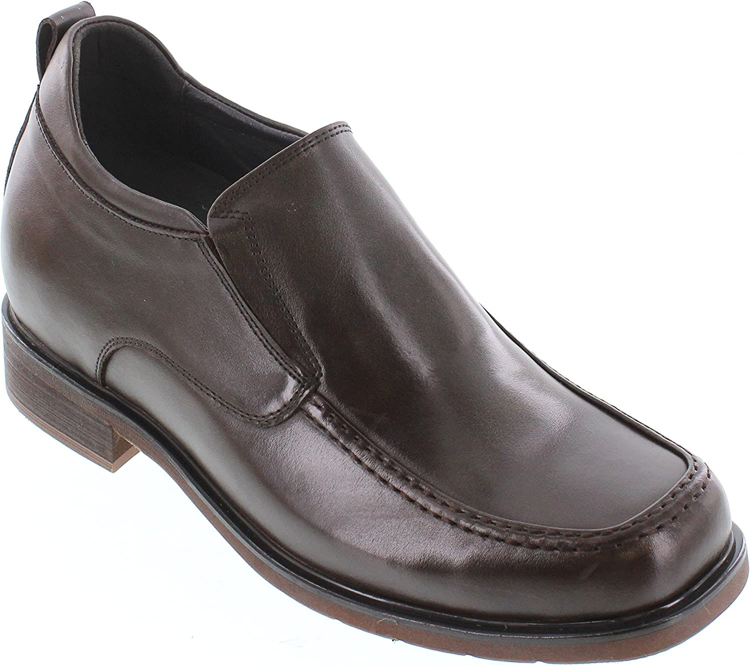 Black Premium Leather Slip-on Formal Loafers 3 Inches Taller CALTO Mens Invisible Height Increasing Elevator Shoes G60128A