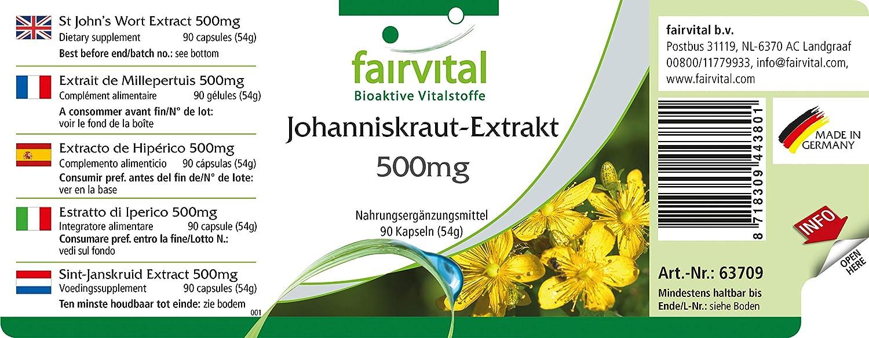 500 mg extracto de hierba de San Juan - 1 mes - VEGANO - ALTA DOSIS - 90 cápsulas - normalizada a 0,3% de hipericina: Amazon.es: Salud y cuidado personal