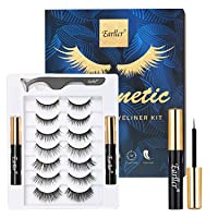 EARLLER 7 Pairs Magnetic Eyelashes with Eyeliner Kit, Natural Look & Glamnetic False Lashes with Applicator - Easy to Apply and No Glue Needed, 3D & 5D Reusable Short and Long Eyelashes Set