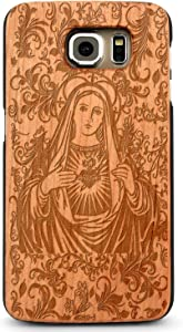 JewelryVolt Wooden Phone Case for iPhone 4 or iPhone 4s Cherry Wood Laser Engraved Spiritual Virgin Mary Floral Heart