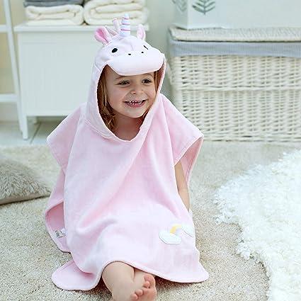 Toalla de baño estilo poncho con diseño de unicornio para niñ