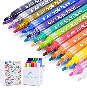 24 Colors Acrylic Paint Water Based Pen