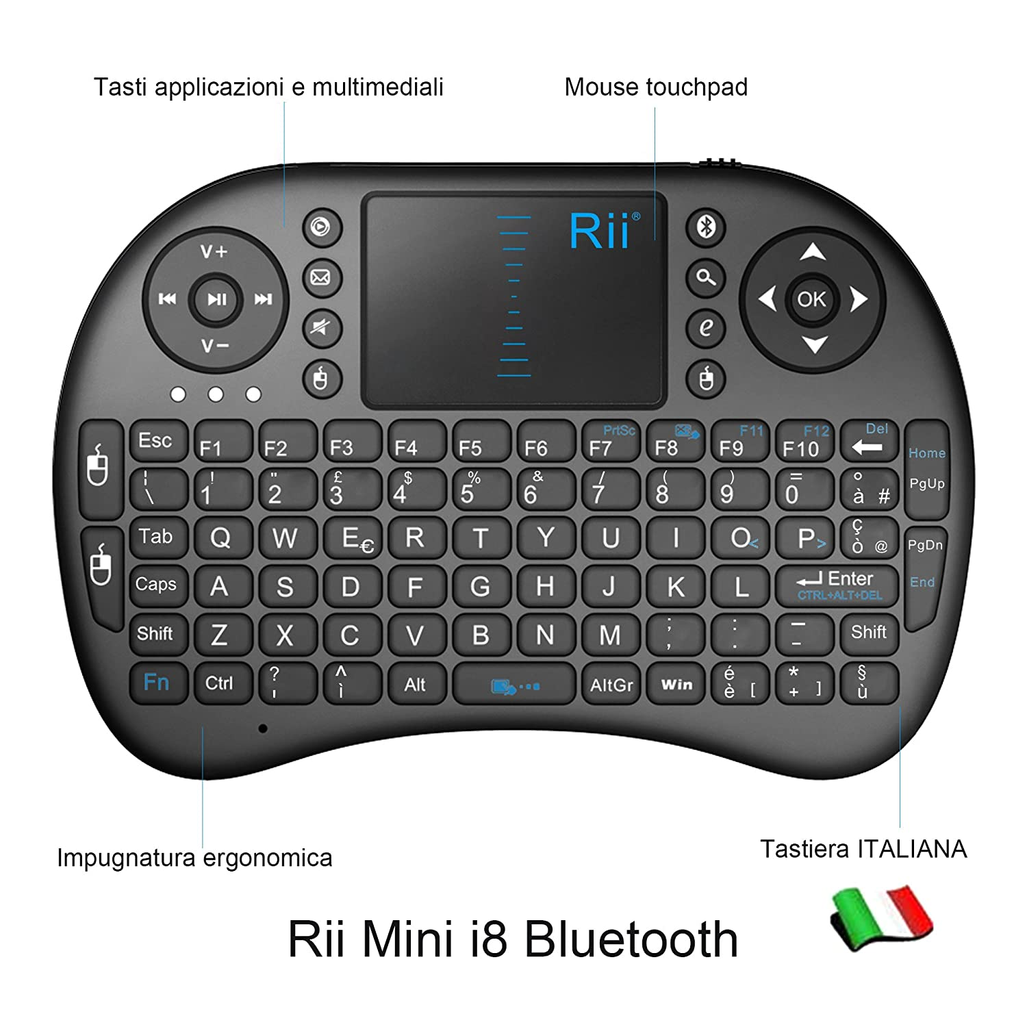 Rii Mini i8 Bluetooth Keyboard, Mini Keyboard with Touchpad Mouse for  Tablet, Smartphone, Mini PC, Computer, PlayStation, HTPC [Italian Layout]  i8