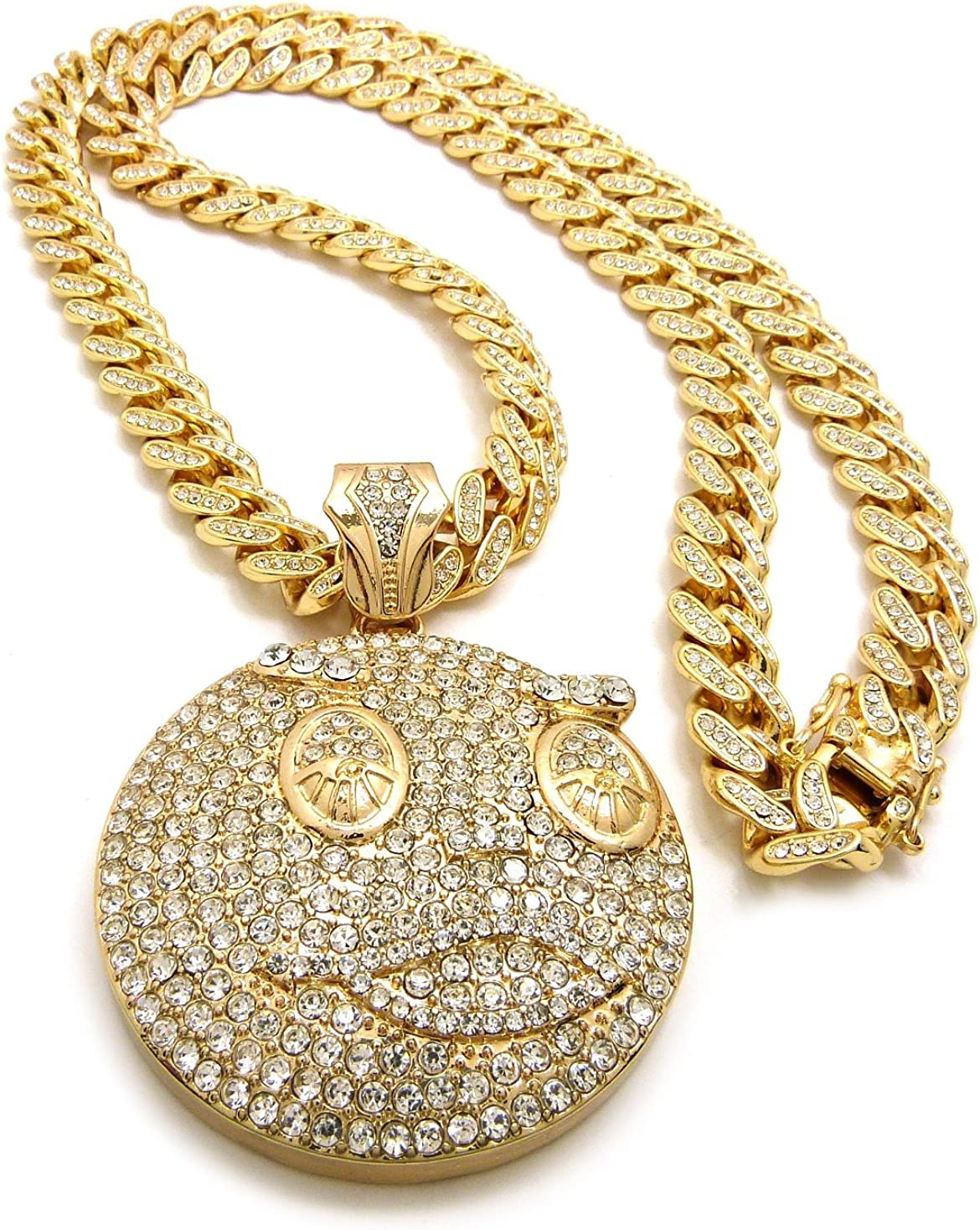 Crescendo SJ INC ICED Out GLO-Gang Pendant /& 12mm//30 ICED Out Cuban Chain Hip HOP Necklaces RC2652G