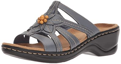 ffe2c9516c9 CLARKS Women s Lexi Myrtle Sandal Blue Grey Leather 5 Medium US