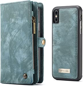 iPhone X/iPhone Xs Case Wallet KONKY Caseme Wallet Case, Magnetic Detachable Removable Phone Cover Pouch Folio Durable Leather Purse Flip Card Pockets Holder Bag Smooth Zipper - Blue-Green