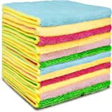 Microfiber Cleaning Cloths Cleaning Rags for Glass - EXEGO Dish Rags Microfiber Cleaning Towels Reusable Rags for Cleaning Ki