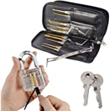 Drillpro 24pcs débloquer de crochetage de serrure à clé d'extraction pratique Cadenas Transparent - Crochet simple Lock Pick Set Outils de serrurier verrouillage