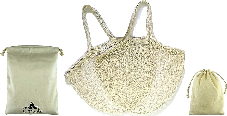 Enowdo Pack 2 Bolsa de Malla Red + 2 Sacos de algodón con Cuerda para Compra Playa o Almacenaje con Asas Largas Reutilizables, Lavables y Ecológicas