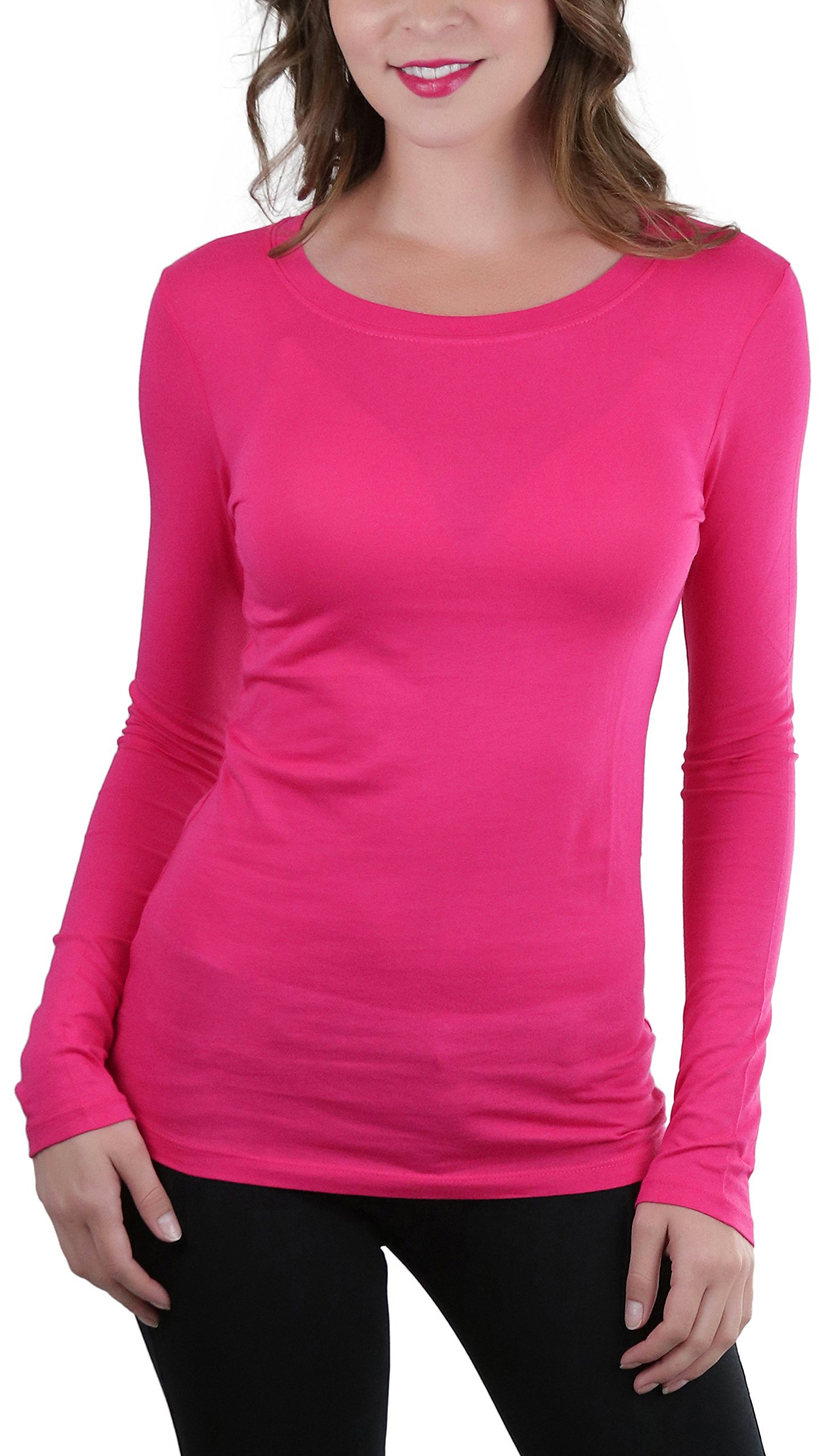 ToBeInStyle Women's Basic L.S. Neck Binding Crew Neck Tee - H Pink - Large