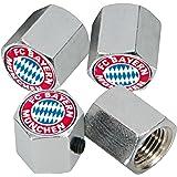 4 hochwertige Ventilkappen mit Diebstahlsicherung Maße ca. 1,1 x 1,3 cm FCB FC Bayern München