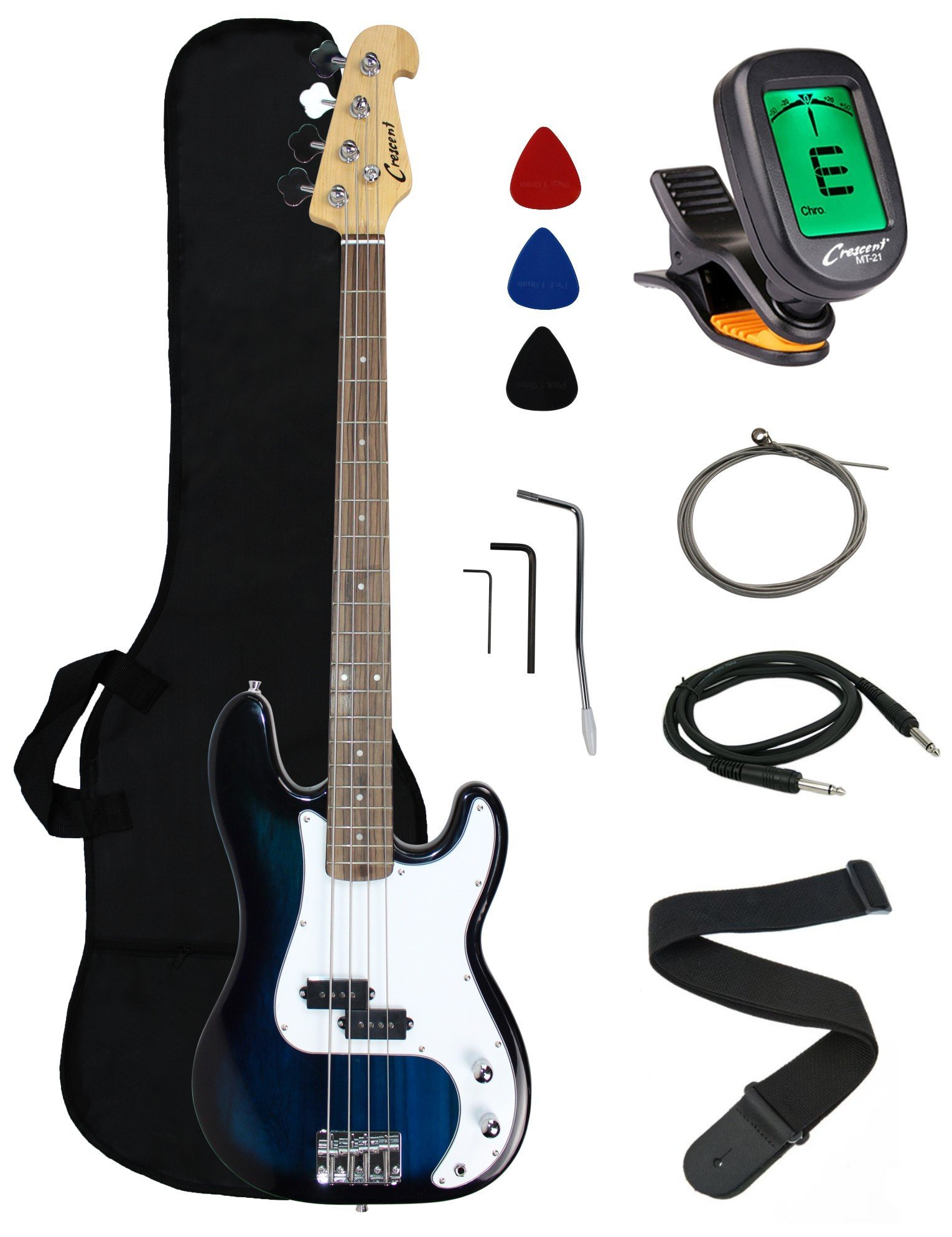 Crescent Electric Bass Guitar Starter Kit - Bluburst Color (Includes CrescentTM Digital E-Tuner)