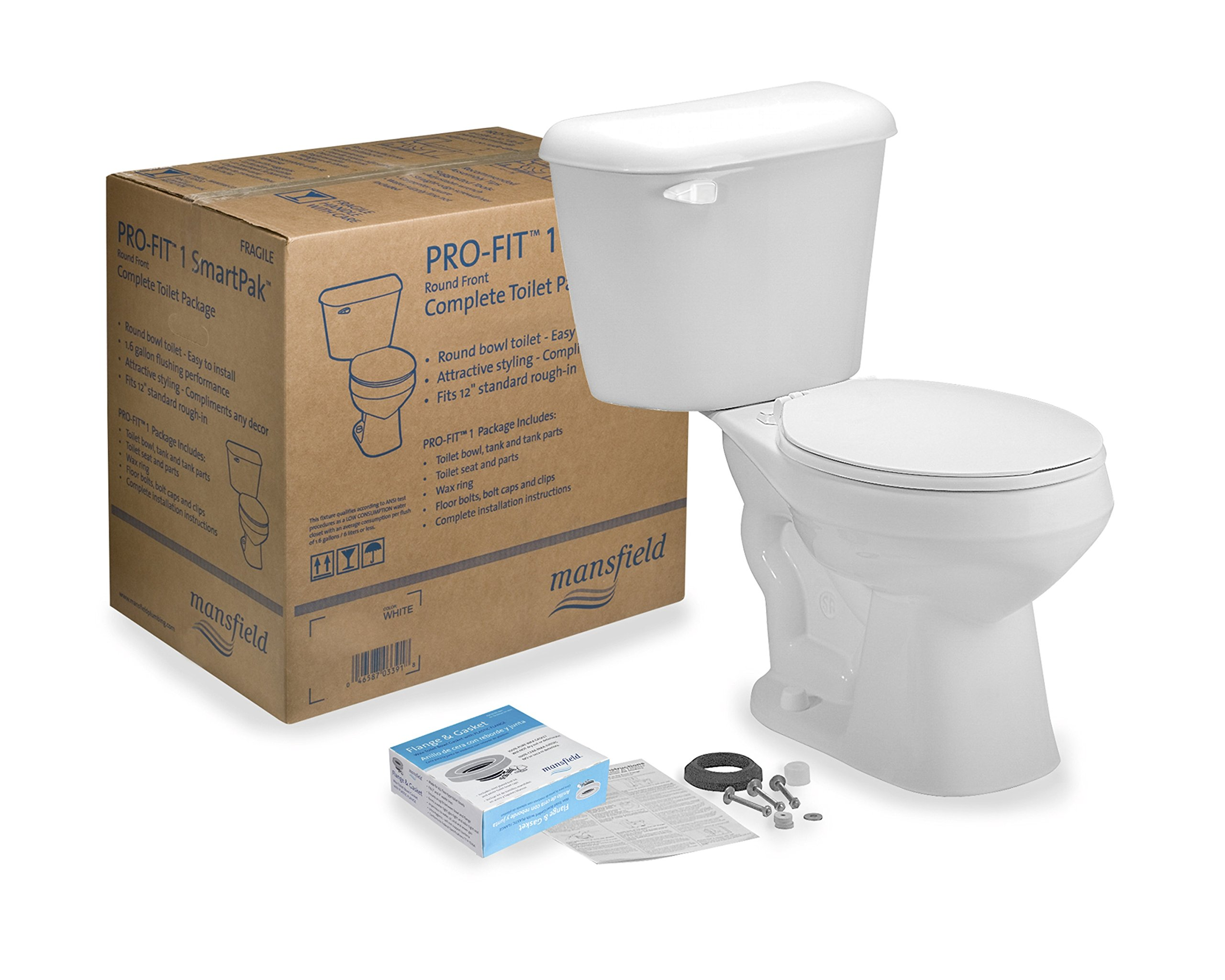 MANSFIELD PLUMBING PRODUCTS 4130CTK Prof1 White Toilet To Go