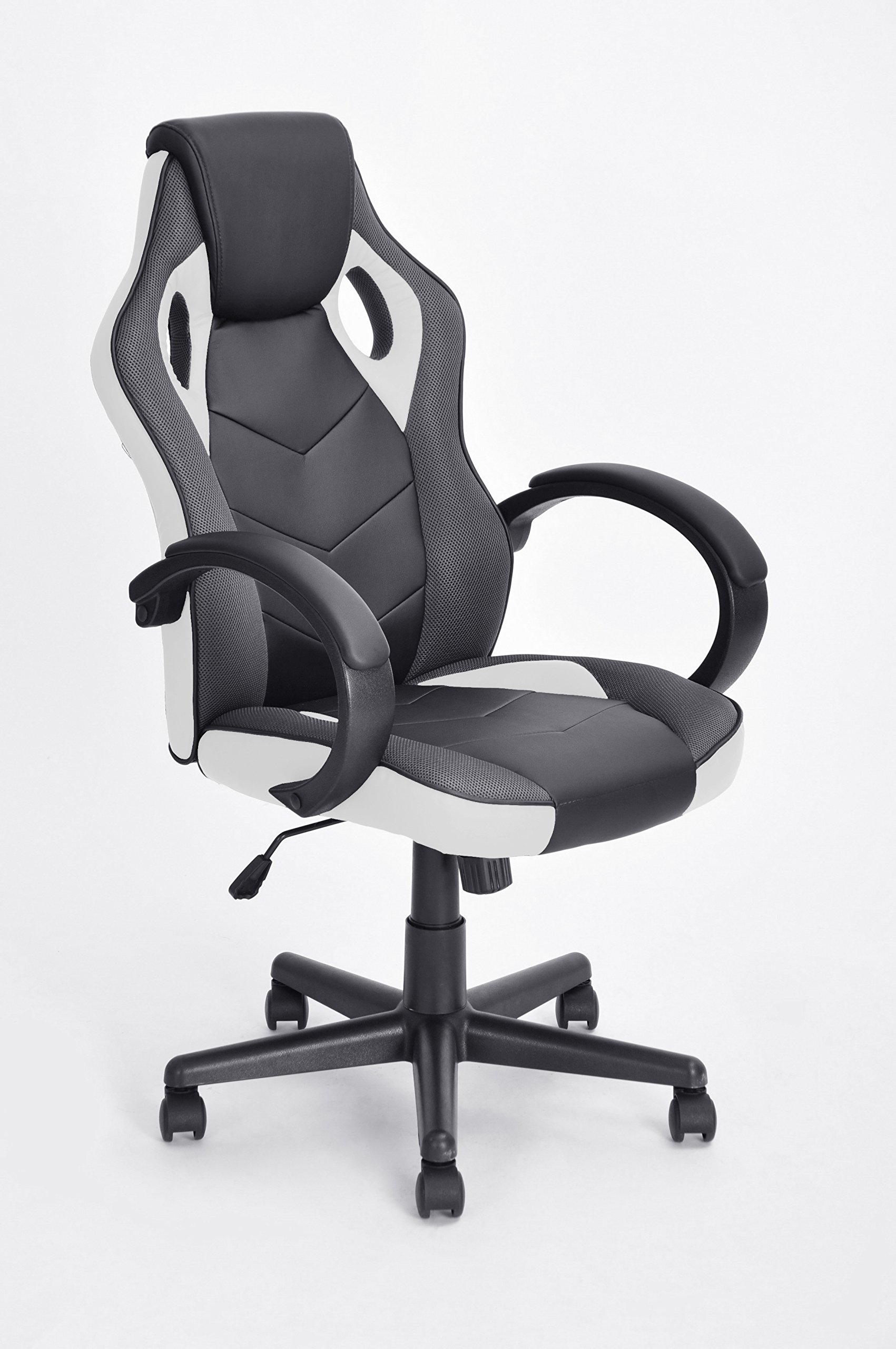Executive Racing Style Office Chair PU Leather Swivel Computer Desk Seat High-Back Gaming Chair in Black and White